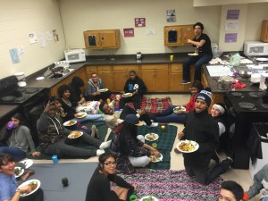 Gathering on the floor to eat bomb food!